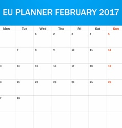 EU Planner blank for February 2017 Scheduler vector