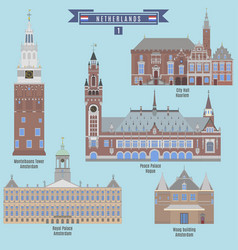 famous places in netherlands vector image
