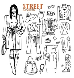Fashion girl and street clothing setOutline vector