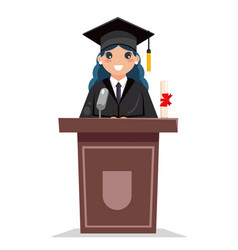 female graduate solemn tribune speech character vector image