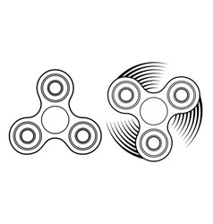 Fidget spinner linear icon stress relief toy and vector