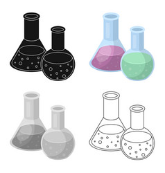 flasks with reagents chemistry in school vector image