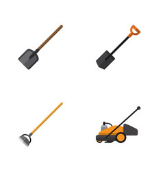 Flat icon farm set of shovel lawn mower spade vector