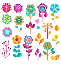 Flower icons cute spring garden flowers vector