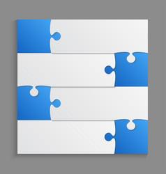 four blue piece puzzle infographic 4 step puzzle vector image