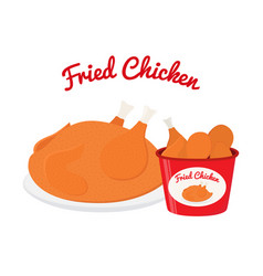 fried chicken cartoon flat style vector image