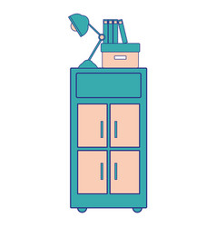 Full color cabinet archive with books and lamp vector