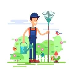 Gardener standing in garden with watering can vector