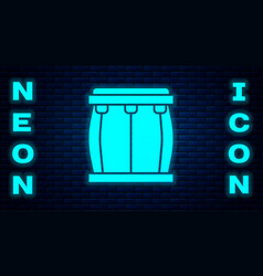 Glowing neon drum icon isolated on brick wall vector