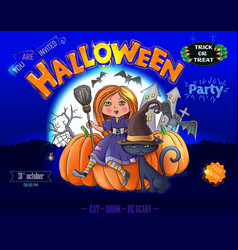 halloween party ready design poster vector image