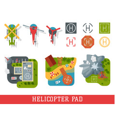 helicopter pad landing ground landing area vector image