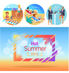 hot summer days workers set vector image