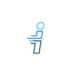 I letter dash lowercase tech digital fast quick vector