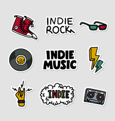 Indie rock music sticker set of vector