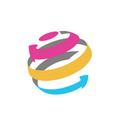 isolated abstract globe logo from color arrows vector image