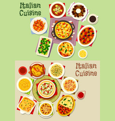 Italian cuisine pasta dishes icon set food design vector