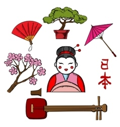 Japanese travel and culture icons vector