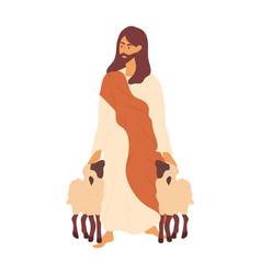 Jesus as a shepherd vector