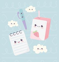 Kawaii school notepad pen and juice box clouds vector