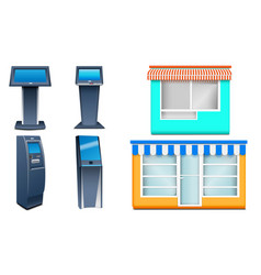 kiosk icons set realistic style vector image
