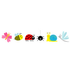 ladybug ladybird bee dragonfly butterfly spider vector image