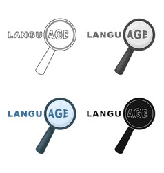 learning foreign language icon in cartoon style vector image