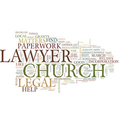 Legal help and church matters text background vector