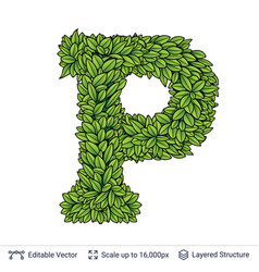 letter p symbol of green leaves vector image