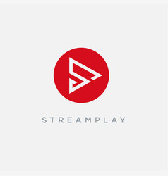 letter s for stream play logo icon template vector image