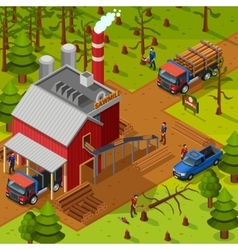 Lumberjack Isometric Composition vector