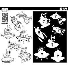 matching shapes game with aliens coloring book vector image