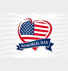 Memorial day usa heart poster vector