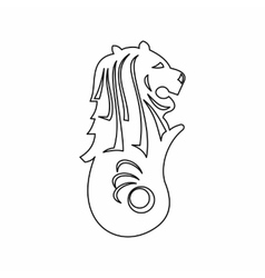 Merlion statue Singapore icon outline style vector
