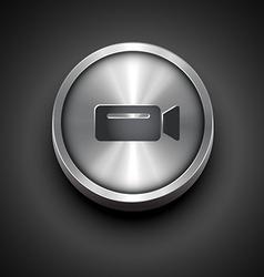 Metallic video camera icon vector