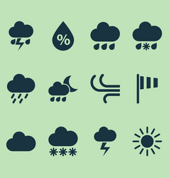 Nature icons set collection of douche flash vector