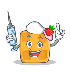 Nurse waffle character cartoon design vector