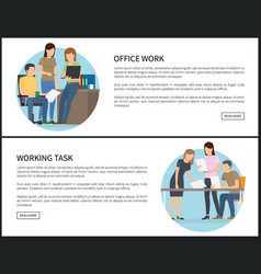 office work and working task on promo banners set vector image