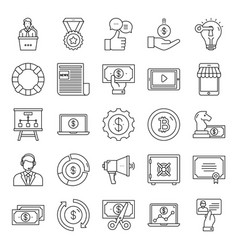 Pack financial line icons vector