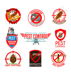 Pest control isolated icons cartoon labels vector