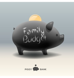 Piggy moneybox with coin - for family budget vector image