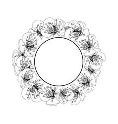 plum blossom flower banner wreath outline vector image