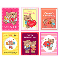 posters set happy valentines day to you and me vector image