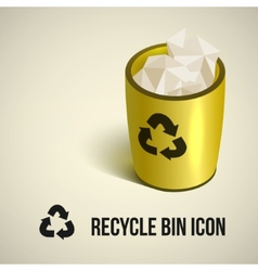 Realistic yellow recycle bin icon vector