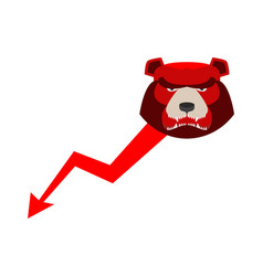 red bear down arrow exchange trader business vector image