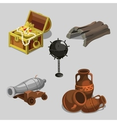 remains ship cannon treasure and other vector image