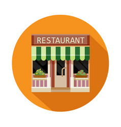 Restaurant front view flat icon vector