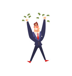 rich successful businessman character with a lot vector image