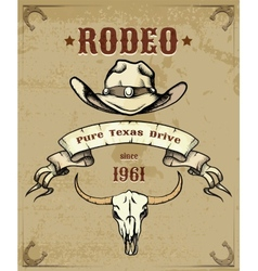 Rodeo Themed Graphic with Cowboy Hat and Skull vector image