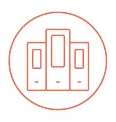 Row of folders line icon vector