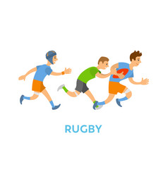 rugsports youth running with ball and chasing vector image